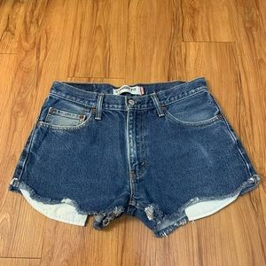 LEVI'S 505 Dark Wash Raw Hem High Rise Jean Shorts